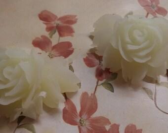 42mm  x 32mm large resin cabochon translucent white color rose flower 2 pcs