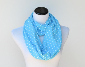 Infinity scarf light blue white polka dots scarf - circle scarf loop scarf gift idea for her - gift for mom gift for girl