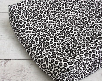 15% OFF SALE- Silver Leopard Changing Pad Cover