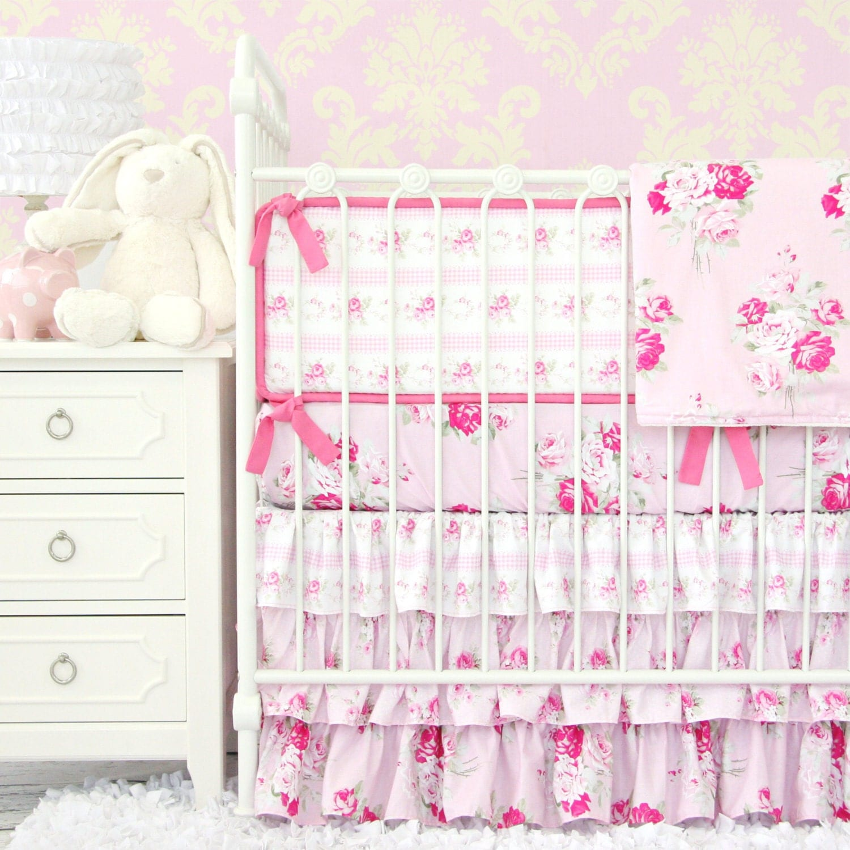 Shabby Chic Rose Ruffle Baby Girl Bedding by CadenLaneBabyBedding