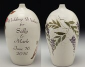 Wedding Wish Vase by David Voorhees, Wisteria design, personalized with wedding couple's names and wedding date.