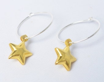 Star earrings - Gold star earrings - silver hoop earrings - sterling silver hoop earrings - Gift for teenager