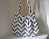 SALE !  BEST SELLER!  Gray chevron purse with yellow dot