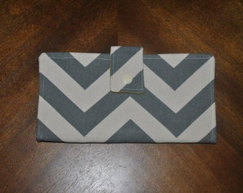 Bifold Wallet - Grey chevron and yellow