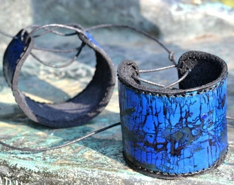 POSEIDON unique hand made LEATHER BRACELET Bangle Cuff Wristband