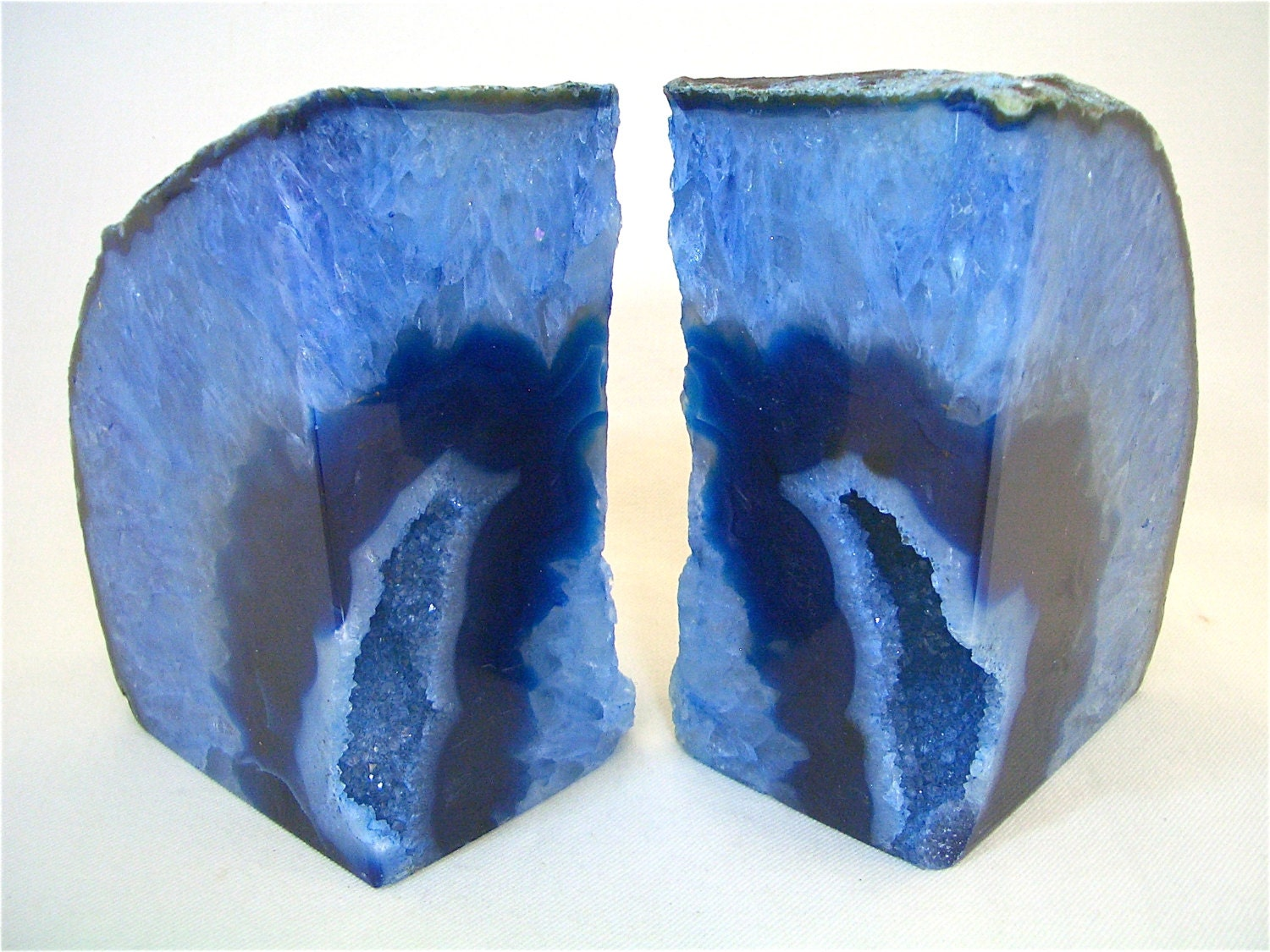 Beautiful blue agate geode bookends book ends with geode - Geode bookends ...