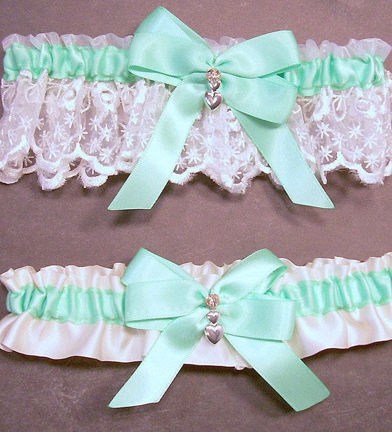 Ivory Garters Wedding: Wedding Garter Set Mint Green On Ivory Bridal By Evertonbridal