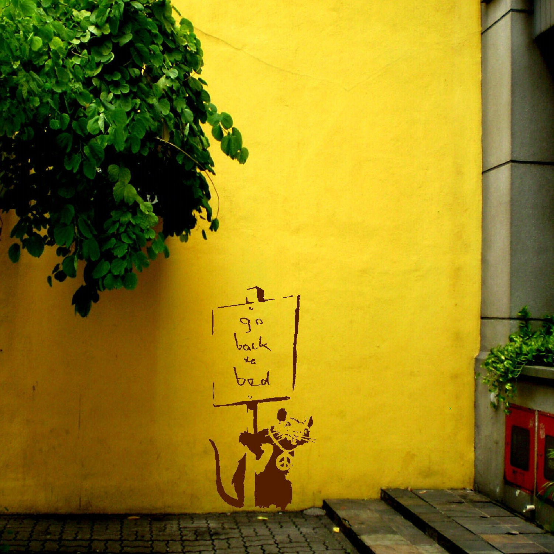 Large banksy rat go back to bed wall art sticker transfer for Banksy rat mural