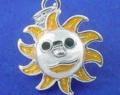 SUN FACE Charm .925 Sterling Silver Enamel Charm Pendant