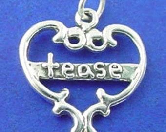 TEASE HEART Charm .925 Sterling Silver Pendant - lp4178