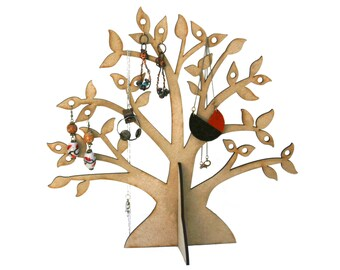 Modern Rustic Wood Jewelry Tree: Hang Your Earings and Necklaces