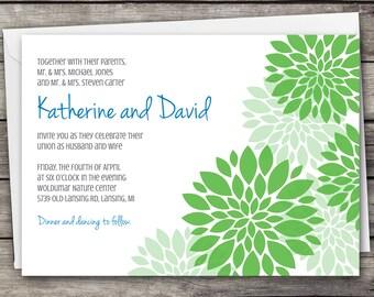 Dahlia flowers - Wedding Invitation Set - Digital Files