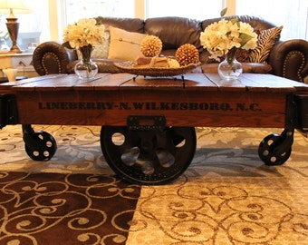 Vintage Restored Lineberry Factory Cart - Coffee Table