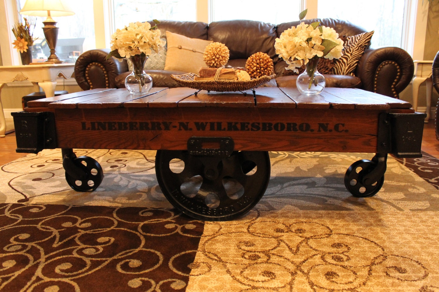 Vintage Restored Lineberry Factory Cart Coffee Table Haute Juice