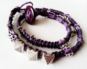 Purple Triple Wrap Around Bracelet with Pyramid Spikes & Rhinestone Crystal Spacers