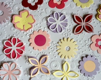 50 pretty Pastel Flower die cuts shapes for cards toppers layering cardmaking scrapbooking craft project