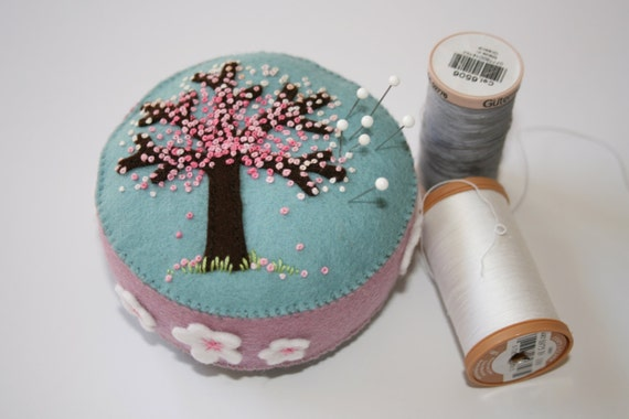 Wool felt pincushion with cherry tree blossom