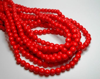6mm Round Bright Red Wood Beads, Round Wood Beads, Tomato Red Beads, Orange/Red Beads, Dyed Wood Beads, Wooden Beads,, Craft Beads D-I03R