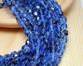6mm Sapphire Tortoise Blue Firepolish Czech Beads, Blue Beads, Faceted Blue Beads, Mixed Color Beads, Blue Crystals, Royal Blue Beads D-B08