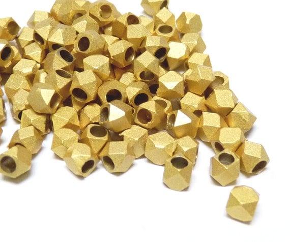 Diamond cut bead, 4.5mm, solid metal bead, brush gold finish, large hole spacer - 25 pcs/ order
