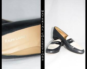 RALPH LAUREN Loafer / 50s style / Penny Loafer / blue white / vintage / nautical / classic Ralph Lauren / flats / women's vintage shoe - 9AA