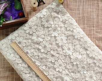4ft white wedding dress fabric tiny flower embroidery cloth Organza White Lace Fabric Water Soluble Embroidery Dress fabric