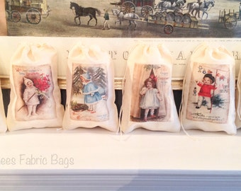 6 Children's Kids Merry Christmas Victorian Holiday Gift Bag set. Vintage Cotton Drawstring bags 4x6 5x7 6x8 7x9