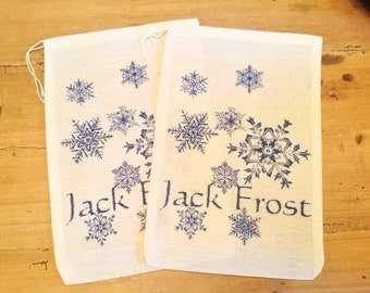2 Jack Frost Old Man Winter Christmas Gift Bags - Drawstring Muslin Bags - Gift Favor Bag, Wine Bags Large 7x11