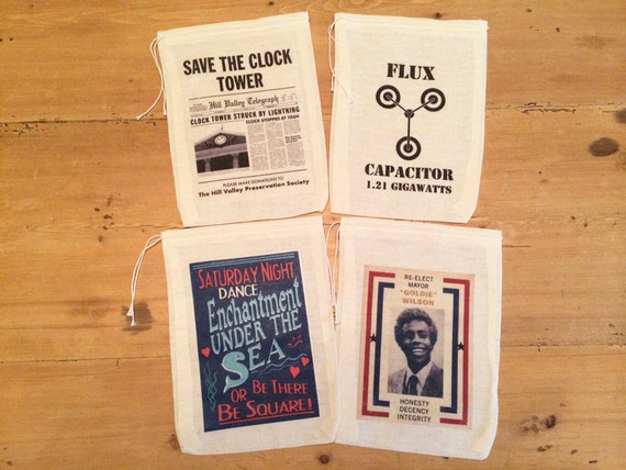 4 Back to the Future Party Favor Bags. 5x7 6x8 7x9 Drawstring Birthday Gift Basket Bags Movie Favors