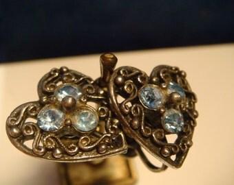 VINTAGE CORA Silver/Blue Rhinestone HEART Screw Back Earrings