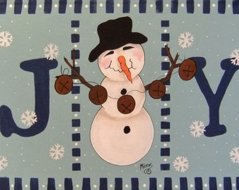 snowman,joy,country,floorcloth,art,floormat,rug,handpainted,original,registered,art 41X26