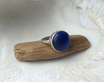 Sacre Bleu - Blue acrylic and sterling silver ring