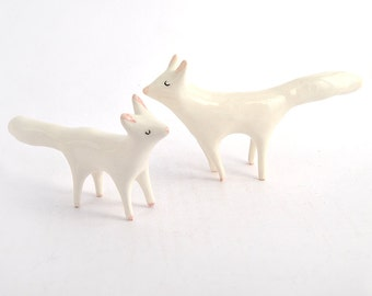 Arctic Fox Ceramic Miniature, Arctic Fox Totem in White Clay. Ready To Ship