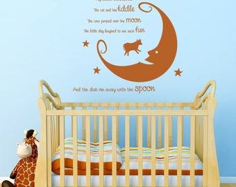 Hey Diddle Diddle... Nursery Rhyme Wall Sticker Bedroom Nursery Children's Vinyl Transfer Decoration Cow Moon Wall Art