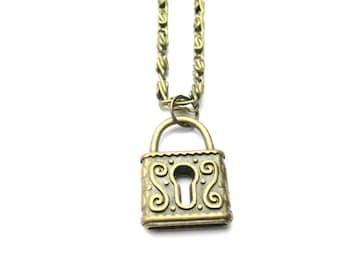 Lock Necklace  Lock Jewelry Padlock Necklace Padlock Jewelry Pretty Lock Necklace Womans  Gifts Under 20