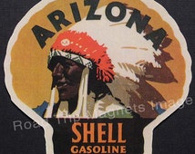 Shell Gasoline 1920s Travel Decal Magnet ARIZONA.  Accurate reproduction & hand cut by me in Die Cut Shape. Nice 1920's Travel Decal Art.