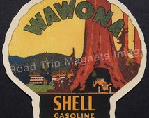 Shell Gasoline 1920s Travel Decal Magnet for WAWONA Version 2. Accurately Reproduced & hand cut in shape as designed. Nice Travel Decal Art