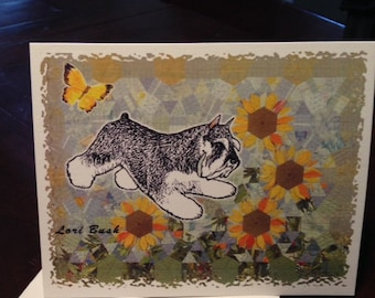 Miniature Schnauzer Playing in the Sunflowers