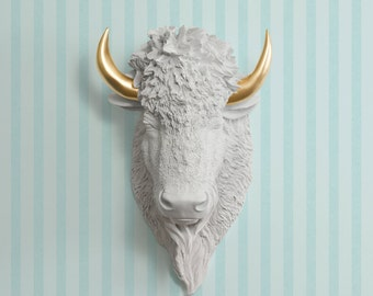 The Yellowstone Faux Bison Head by Wall Charmers™ Faux Taxidermy - Resin Faux Buffalo Head Fauxidermy Ceramic Animal Head Wall Sculpture Art