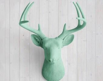 Mint Green Faux Deer Head by Wall Charmers™ Faux Taxidermy Decor-Boho Faux Deer Mount Nursery Wall Decor Faux Deer Head Decor Deer Head Faux