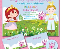 Little Princess and Prince Birthday Party Invitations, Castle, Crown Theme, Addres Labels Thank you Card, Little Prince Princess