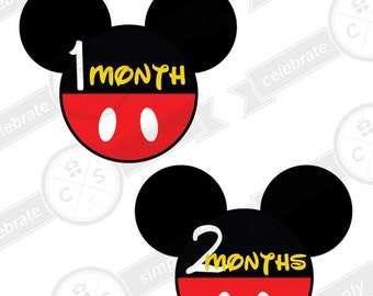 Mickey Mouse Monthly Baby Milestone Stickers - INSTANT DOWNLOAD