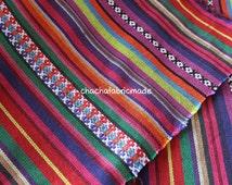 Tribal Fabric Ethnic Fabric Aztec Fabric Native Fabric BOHO Bohemian Style Tablecloth Fabric Hand Woven Color Stripe Fabric-Half Yard