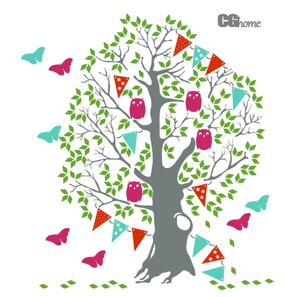 eductional TREE for kids huge COLORFUL wall decal CGhome