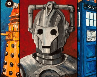 Doctor Who Tardis, Cy berman and Dalek Painting Art Print Set of 3 8x10s