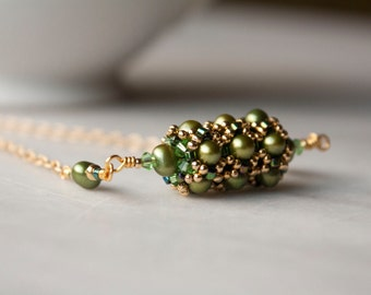 Green Freshwater pearl, Swarovski Crystal Elements and Gold Filled Pendant Necklace