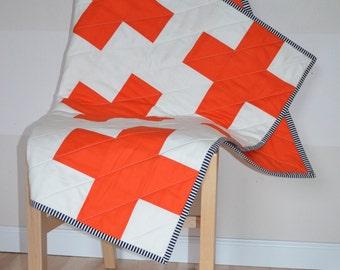 Orange and White Plus Quilt / Cross Quilt / Plus Sign Quilt