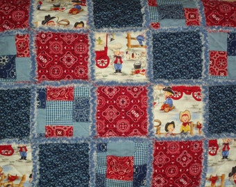 Baby Rag Quilt In A Cowboy Design With Red And Blue