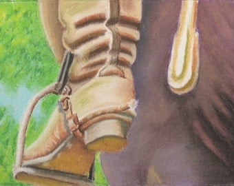 Riding Boot in Stirrup Pastel Painting