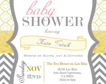 "Yellow & Grey Baby Shower/Sprinkle Invitation (5x7"")"